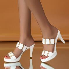 Women's PU Stiletto Heel Pumps Peep Toe Slippers With Rhinestone shoes