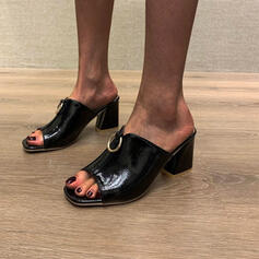 Women's PU Chunky Heel Sandals Pumps Peep Toe Slippers Square Toe With Solid Color shoes