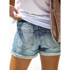 Denim Casual Plus Size Pocket Ripped Button Pants Shorts Denim & Jeans