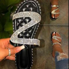 Femmes PU Talon plat Sandales Chaussures plates À bout ouvert Chaussons avec Strass Pailletes scintillantes chaussures