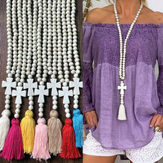 Stylish Simple Wooden Beads With Tassels Women's Necklaces