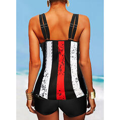 Flag Stripe Splice color Strap U-Neck Classic Plus Size Tankinis Swimsuits