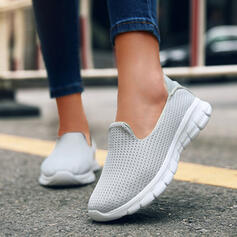 Women's PU Flat Heel Flats Round Toe Slip On With Solid Color shoes
