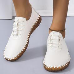 Femmes PU Talon plat Chaussures plates Low Top bout rond Tennis avec Dentelle Couleur unie chaussures