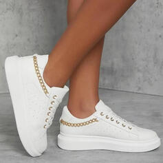 Women's PU Flat Heel Platform Flats Sneakers With Chain Lace-up Solid Color shoes
