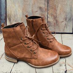 De mujer PU Tacón ancho Botas Martin botas con Cremallera Cordones Color sólido zapatos