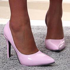 Mulheres PU Salto agulha Bombas Dedo pontudo com Cor sólida sapatos