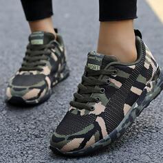 Mulheres Homens Tecido Sem salto Sem salto Tênnis com Aplicação de renda sapatos