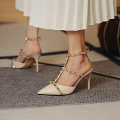 Women's PU Stiletto Heel Sandals Pumps Peep Toe Pointed Toe With Rivet Hollow-out shoes