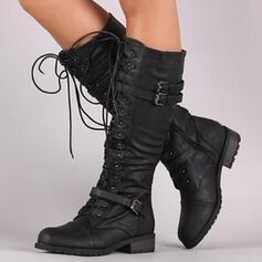 De mujer PU Tacón ancho Botas longitud media Encaje con Hebilla Cordones Color sólido zapatos