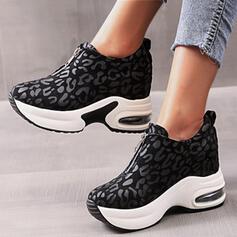 Mulheres PU Sem salto Sem salto Plataforma Toe rodada com Animal da Cópia Zíper sapatos