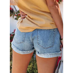 Solid Denim Above Knee Casual Plus Size Pocket Ripped Button Pants Shorts Denim & Jeans