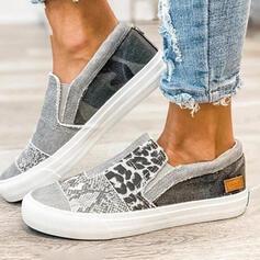 De mujer Lona Tacón plano Top bajo Ponerse con Estampado de animales Banda elástica zapatos
