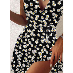 Print/Floral Sleeveless A-line Above Knee Casual Skater Dresses