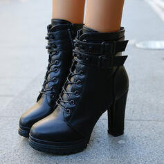 De mujer PU Tacón ancho Botas Tacones con Cremallera Cordones Color sólido zapatos