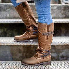 De mujer PU Tacón ancho Botas longitud media Botas de equitación Encaje con Hebilla Cremallera Color sólido zapatos
