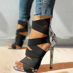 De mujer PU Tacón stilettos Sandalias Salón Encaje Tacones con Estampado de animales Cremallera zapatos