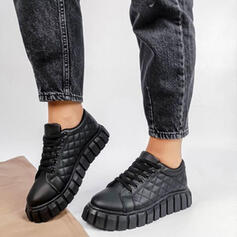 Femmes PU Talon plat Chaussures plates bout rond Tennis avec Dentelle Couleur unie chaussures