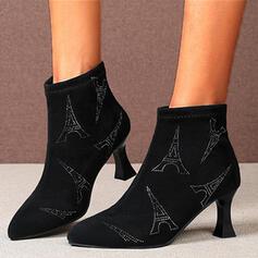 Women's Suede Kitten Heel Pumps Heels With Rhinestone Zipper shoes