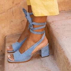 Femmes Suède Talon bottier Sandales Escarpins À bout ouvert Talons avec Dentelle chaussures