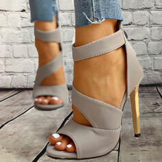 Women's PU Stiletto Heel Sandals Pumps Peep Toe With Bowknot Lace-up Solid Color shoes