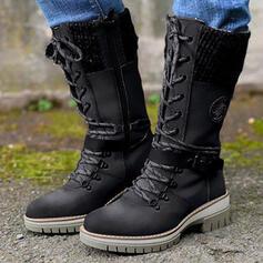 De mujer PU Tacón ancho Botas Botas longitud media Martin botas Encaje Botas de combate con Hebilla Cordones Color sólido zapatos