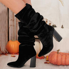 Women's Suede Chunky Heel Boots With Ruched Solid Color shoes
