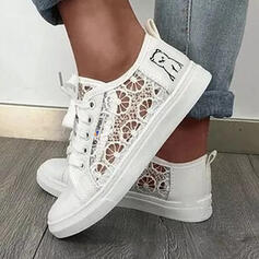 Women's PU Flat Heel Flats Low Top Round Toe Espadrille With Stitching Lace Solid Color shoes