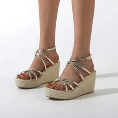 Women's PU Wedge Heel Espadrille Heel Sandals Pumps Platform Wedges Peep Toe With Buckle Hollow-out shoes