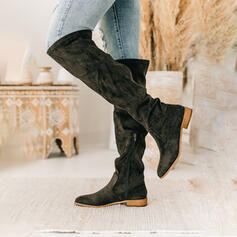 Women's Suede Low Heel Knee High Boots Riding Boots With Ruched Solid Color shoes