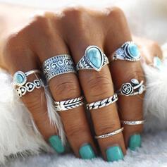 Chic Boho Alloy Turquoise Rings 10 PCS
