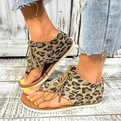 Women's PU Flat Heel Sandals Peep Toe Flip-Flops With Animal Print Lace-up shoes