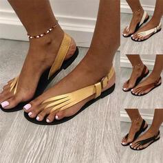 De mujer PU Tacón plano Sandalias con Hebilla Color sólido zapatos