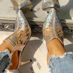 Women's PU Stiletto Heel Pumps With Rhinestone Buckle shoes