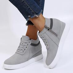 Femmes Similicuir Autres Chaussures plates Low Top bout rond avec Zip Dentelle chaussures