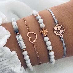 Heart Shaped Alloy Resin With Snake Design Women's Bracelets 4 PCS