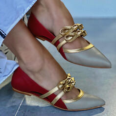 Women's PU Flat Heel Flats Slip On With Hollow-out Splice Color shoes