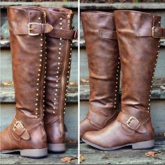 Mulheres PU Salto baixo Bota no joelho com Rivet Fivela Zíper sapatos