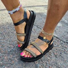 Women's PU Flat Heel Sandals Flats Platform Peep Toe With Zipper Chain Hollow-out shoes