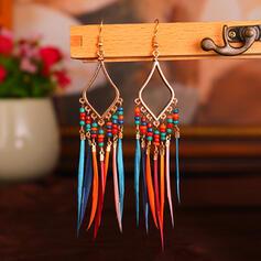 Vintage Boho Elegant Artistic Feather Design Alloy Beads Women's Earrings