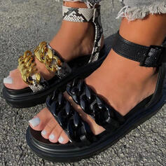 Women's PU Flat Heel Sandals Flats Platform Peep Toe With Chain Hollow-out shoes