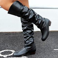 De mujer PU Tacón ancho Botas longitud media Encaje con Acanalada Color sólido zapatos
