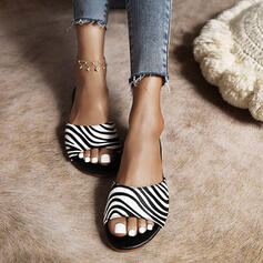 Women's PU Flat Heel Sandals Flats Peep Toe Round Toe With Animal Print shoes