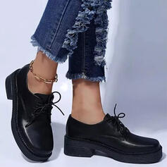 Women's PU Others Flats Low Top Round Toe Loafers With Lace-up Solid Color shoes
