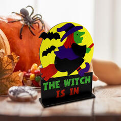 Colourful Gothic Horrifying Wall Mounted Witch Wooden Halloween Props Halloween Decorations (Sold in a single piece)