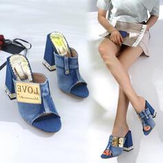 Femmes Treillis Talon bottier Sandales Escarpins À bout ouvert Chaussons Talons avec Perle d'imitation Talon de bijoux Patchwork chaussures