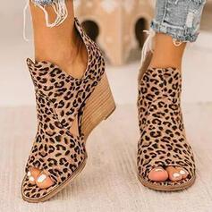 De mujer Tela Tejido Tipo de tacón Sandalias Encaje Tacones con Estampado de animales zapatos