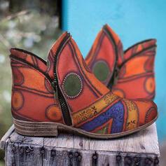 De mujer PU Tacón plano Botas Botas al tobillo con Estampado flor zapatos