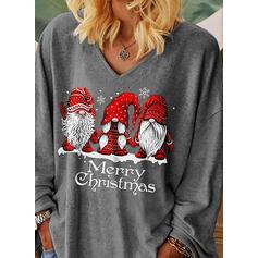 Christmas Print Letter V-Neck Long Sleeves Casual Blouses
