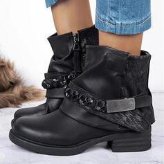 Mulheres PU Salto robusto Plataforma Bota no tornozelo Martin botas Toe rodada com Lantejoulas Ruched Corrente Velcro Cor sólida sapatos